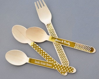 Metallic Gold or Silver Foil Wooden Silverware (set of 24)