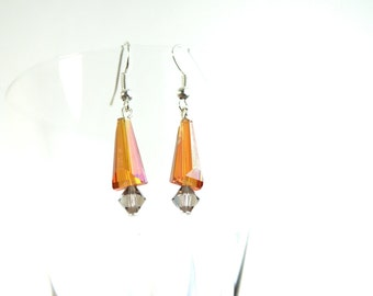 Orange Earrings, Crystal Earrings, Dangle Earrings, Beaded Earrings, Abstract Earrings, Colorful Earrings, Festive Earrings