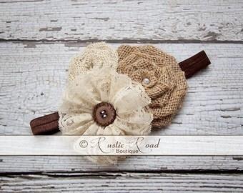 Rustic Burlap Headband, Burlap Lace Headband, Flower Girl Headpiece, Wedding Headdress, Country Headband, Lace Burlap, Baby Girls Adult