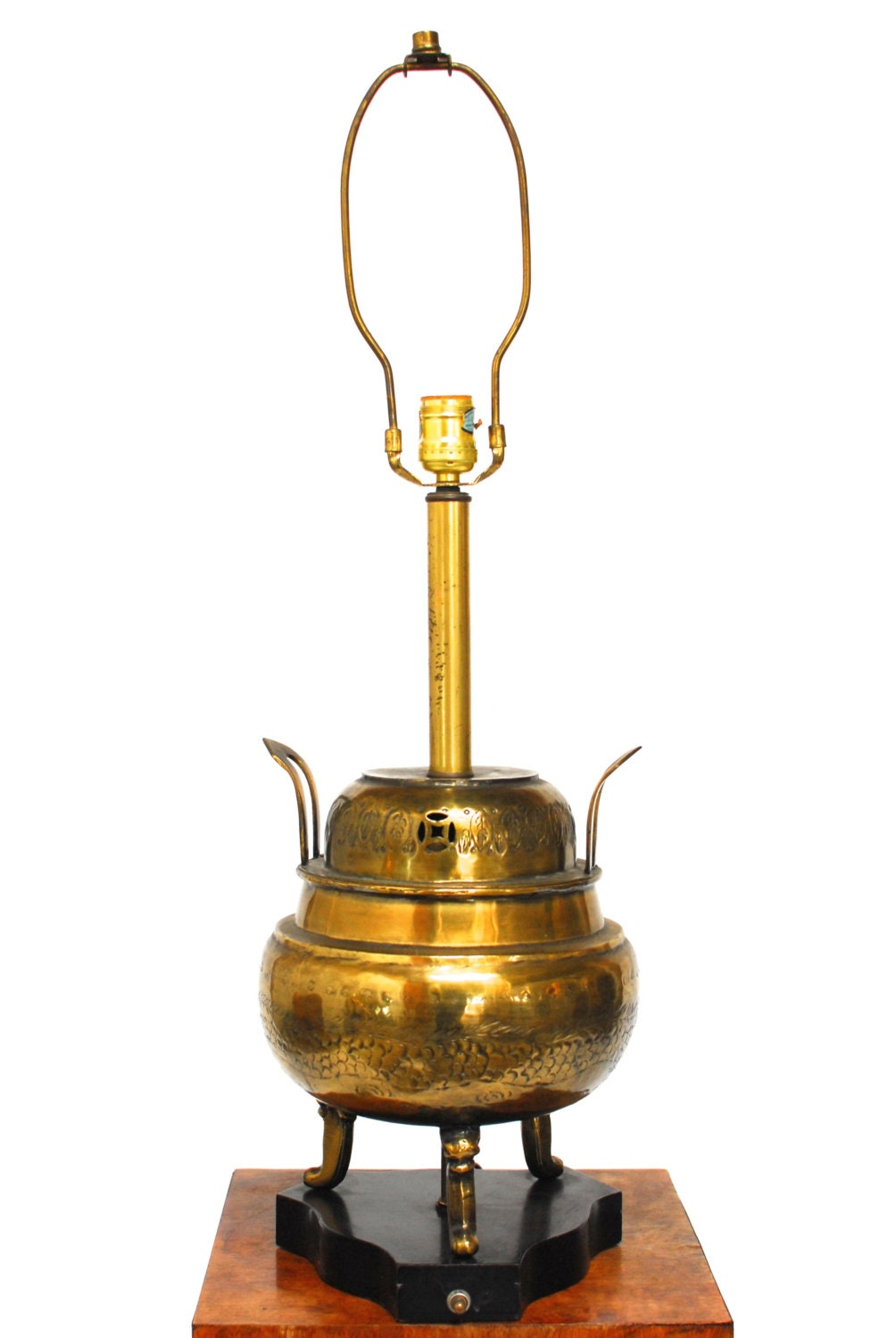 Chinese Incised Brass Urn Table Lamp