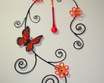 Wire Sculpture with Monarch Butterfly and Orange Flowers