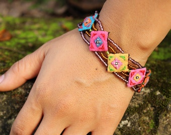 Hmong Handmade Embroidered and Beaded Bracelet or small Anklet