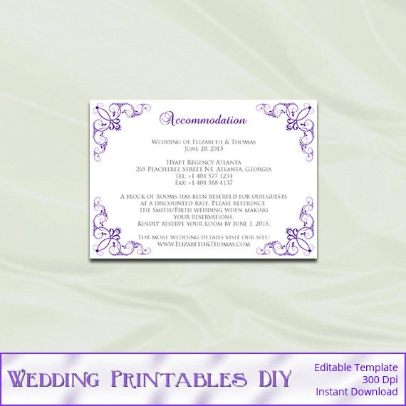 items similar to wedding enclosure cards template diy purple accommodation card printable. Black Bedroom Furniture Sets. Home Design Ideas