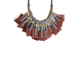 Statement Necklace - Geometric Necklace - Leather Necklace - Brown & Grey Necklace - Bib - Minimalist - OOAK