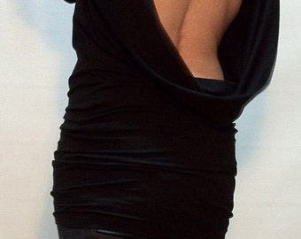 Black Backless Top/Tunic Long Sleeves/Open Back Slim Shirt/ Asymmetrical Long Sleeve Blouse/ F1124