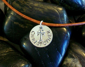 STYLISH Boys First COMMUNION Custom Cross Necklace, First Holy Communion, Boy Necklace Pick Leather or Chain, Personalized Cross With Name