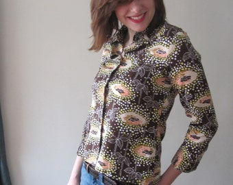 1970s Abstract Floral Blouse - Size Medium (36)