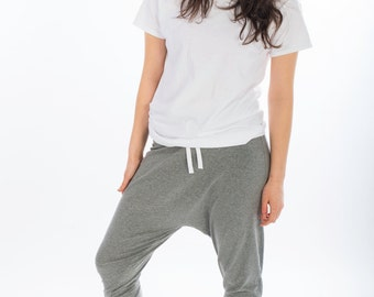 Unisex, 3/4 length Harem Pants, Women, Men, Sweatpants, Joggers, Drop Crotch, Short Harem Trousers, Hip Hop, Dance Trousers, Joggers, Yoga