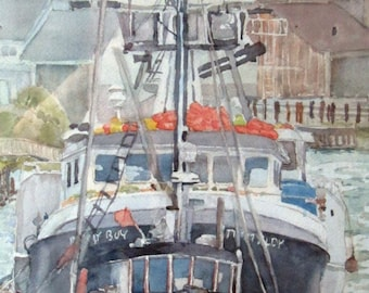 Fishing Boats - Original Watercolor Painting - Boat Painting - Boat Watercolor - Newport, Oregon -  21.25 inches  x  10.75 inches.