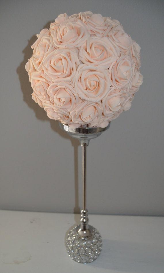 Rose Pomander Centerpiece : Pink blush kissing ball wedding centerpiece by kimeekouture
