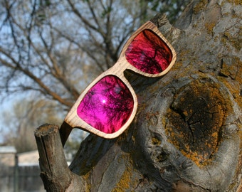 Zebrawood Pink Sunset Rainbow Lens Wayfarer polarized wood sunglasses. Natural Handmade. Wedding Sunglasses