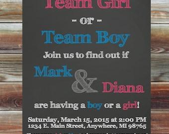 Chalkboard Gender Reveal Party Invitation - Team Boy Team Girl - Chalkboard Gender Reveal Party - Gold Glitter Gender Reveal Invite