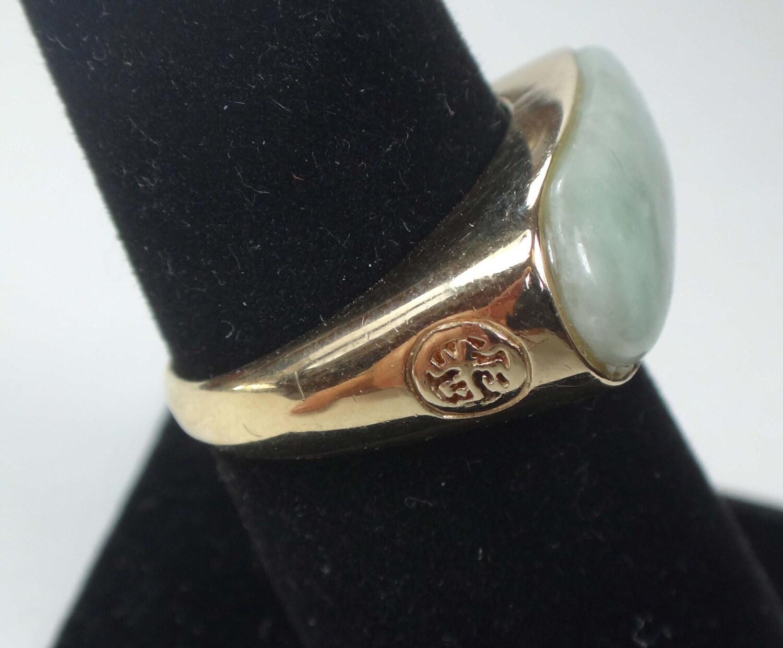 Vintage 14k Jade Ring 14k Gold Jade Saddle Ring Vintage Jade
