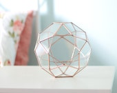 Geometric Terrarium Container, Succulent Planter, Copper Home Decor, Coworker Gifts, Stained Glass Planter, Wedding Gift, Icosidodecahedron
