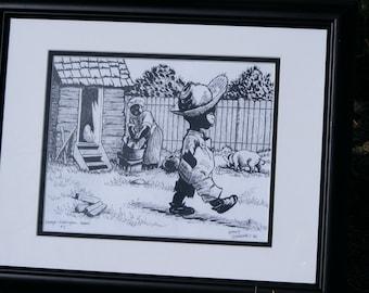 Pen and Ink drawing, OldSouthernFolkTale, GeorgeWRabbitPrint, Black Folk Tale,