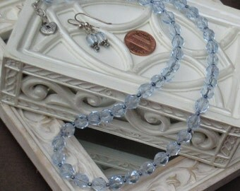 Light Blue Faceted Bohemian Glass Beaded Necklace SS Blue Beaded Faceted Glass Earrings Blue Jewelry Necklace