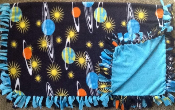 Solar system print fleece tie blanket by simpleesweetboutique for Solar system fleece