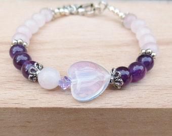 Fertility Bracelet - Fertile HEART by Fertile Gems with moonstone heart -infertility jewelry , Fertility Jewelry