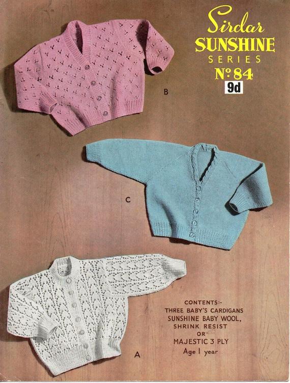 baby cardigans knitting pattern lace cardigan v neck round neck vintage 60s 2...