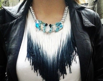Black statement necklace, boho long necklace, ombre fringe necklace, fringe statement necklace, bohemian necklace, black necklace, turquoise