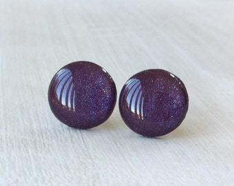 Shimmering Plum– Stud Earrings, Surgical Steel Posts and Butterfly Backs