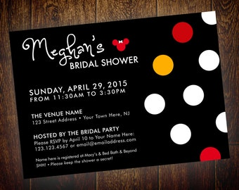 Minnie Mouse Bridal Shower or Birthday Invitation – Printable, Digital File – DIY