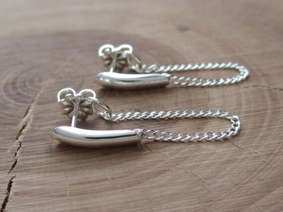 Sterling Silver Bar Stud Chain Earrings Ear Jacket Silver