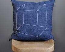 Geometric pillow cover – cube pattern – 18x18 – white stitching on blue denim