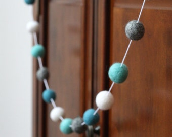 Felt Ball Garland, Turquoise and Gray Baby Shower Garland, Pom Pom Garland, Birthday Party Decor