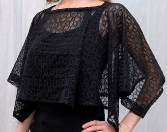 Black silk lace capelet, formal wrap, shawl, convertible crop top