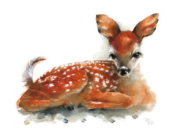 Deer Fawn - Archival print of watercolor painting. Art Print. Nature or Animal Illustration. Rust and Orange.
