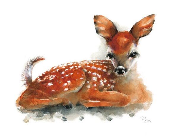 Deer Fawn Archival print of watercolor painting. Art Print.
