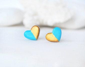 Boxing day sale Turquoise gold earrings turquoise gold stud earrings heart stud earrings turquoise heart posts love jewelry minimalist earr