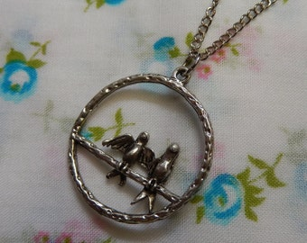 Two Little Birds on the Perch Pendant Necklace
