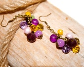 FREE SHIPPING! Earrings with glass and crystal beads, color antique bronze