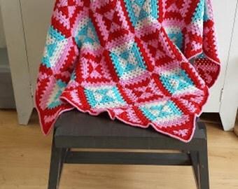 US / Dutch Crochet pattern patchwork blanket (geometric, graphic pattern)