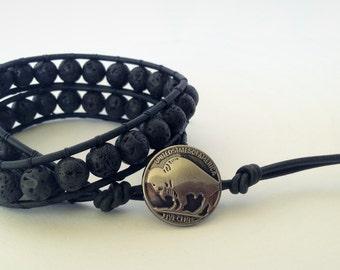 Male | Volcanic Lava Rock Beaded Leather Double Wrap Bracelet