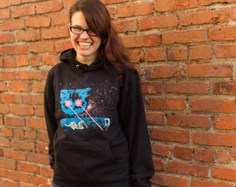 SALE: Cat Hoodie - Unisex, Funny Cat, Funny Shirts, Funny Cat Shirt, Laser Eyes Space Cat, Laser Cat Hoodie