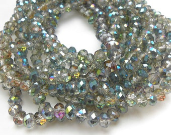 40 Mystic Rainbow, Silver Faceted Glass Rondelle Beads 6x4mm (H1824)