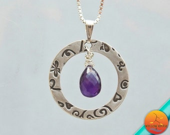 Open Circle Necklace, Silver with Amethyst Gemstone features handmade fine silver pendant, February Birthstone, Sterling Chain