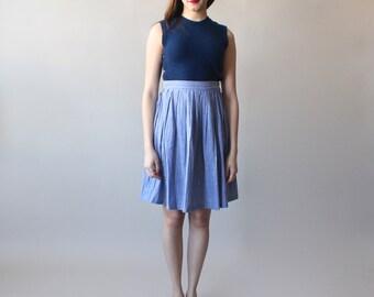 chambray skirt   stripe full skirt   1990s small