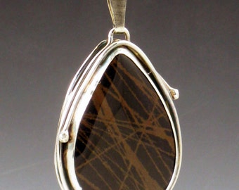Picasso Jasper Necklace, black and brown, large jasper necklace, sterling silver, silver black brown, picasso jasper, teardrop, necklace