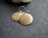 SALE - White-Wash Patina Floral Drop Earrings - Stering Silver, Scroll Pattern, Gold Brass, Domed Disk, Bohemian Jewlery