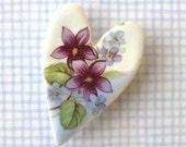 SALE! Heart Brooch. Violets. Forget-Me-Nots. Valentine. Ceramic. Lavender. Purple. Periwinkle. Light Blue. White. Porcelain. Cottage Garden