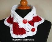 Crochet Valentine Scarf Pattern, Neckwarmer Scarflett Pattern, Wear My Valentine, Designer Scarf Pattern, Unique Scarf Pattern, Crochet Cowl