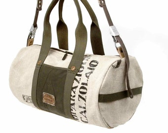 10% OFF WINTER SALE Canvas Weekender, Overnight Bag, Gym Bag, Recycled Italian Military Duffel Bag / Upcycled in Germany-2167