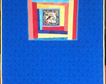 Baby Owl Quilt, Infant or Toddler Bedding with WoNkY Strips.