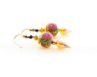 Elegant Lampwork Bead Earrings. Dangle Drop Glass Bead Earrings. Glass Bead Chic. Lampwork Bead Jewelry.