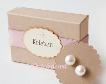 4 SETS  - 7mm real pearl earrings studs - freshwater - genuine pearls - sterling bridesmaid jewelry gifts - bridesmaid bridesmaids mother