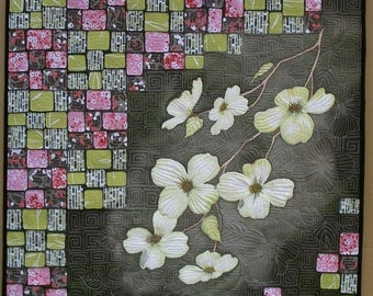 Dogwood Quilted Wall Hanging Art Quilt Hand Painted On Cotton Quiltsy Handmade